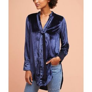 NWT Maeve Navy Velvet Tie-Neck Buttondown